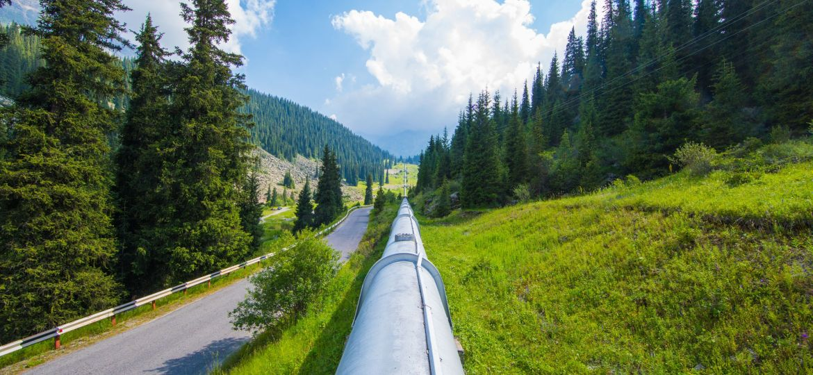 water pipeline in the mountains